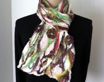 Nuno felted scarf Midday Garden