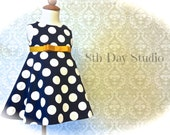 Girls Easter Dress, Toddlers Easter Dress, Navy and Mustard, Navy Polka Dots, Special Occasion, Church, Wedding, Size 2T-6 by 8th Day Studio