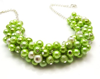 Lime Green Pearl Beaded Necklace, Bridesmaid Jewellery, Cluster Necklace, Bridesmaid Gift, Lime Green  Necklace for Bridesmaids