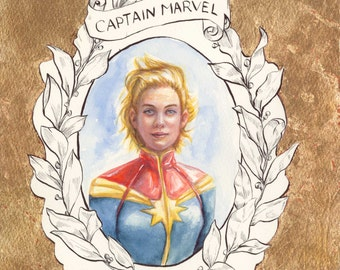 Captain Marvel//Marvel//Portrait//Red//Gold//Watercolor//Painting//Print//A3