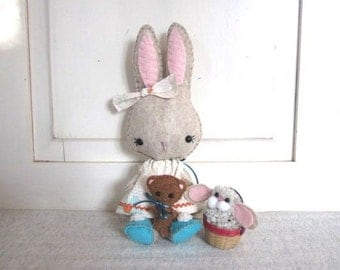 Bunnycup and Teddy with Easter Basket Bunny Doll With Accessories