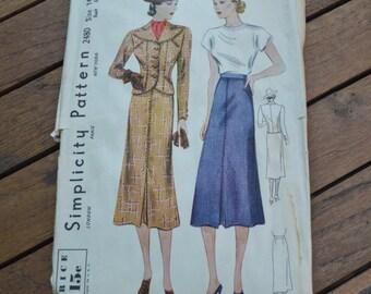 1930's Simplicity Suit Pattern 2480