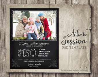 Winter Photography Template Marketing Board - Chalkboard 8x10 PSD Template - Winter Mini Session - Photography Marketing INSTANT DOWNLOAD