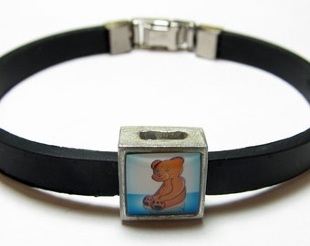 Teddy Bear Baby Boy Blue Link With Choice Of Colored Band Charm Bracelet