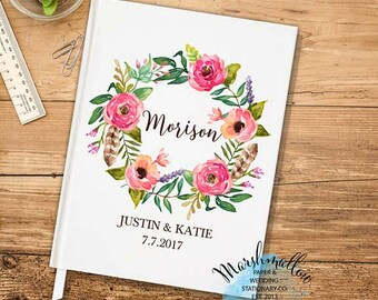 Pink Wedding Guest Book Wedding Guestbook Wedding Keepsake Wedding Gift Wedding Flowers Guest Book Wedding Gift Bride Gift   -GB11
