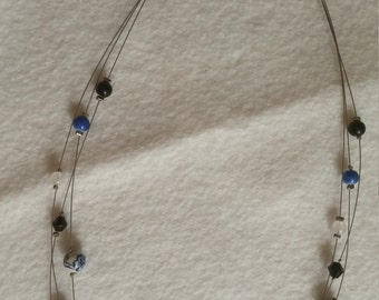 Black and Blue Multi Strand Necklace