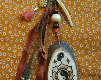 Yin yang wooden bag accessory/keyring