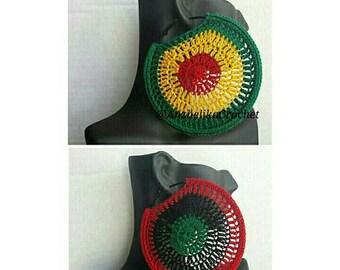PanAfrican Hoop Earrings /Crochet Hoop Earrings / Crochet Earrings