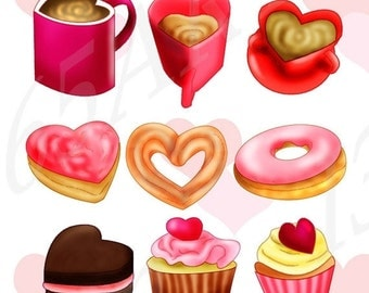 50% OFF SALE Valentine's Day Clipart, Clip art, Love Cafe, Party Invitations, DIY, Coffee, Pink Chocolate, Strawberry, Cupcakes, Donuts, Png