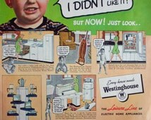 "1940 ad ""Mother was Always Tied Down and I Didn't Like It"" Funny Westinghouse Vintage Print Ad ETK304"