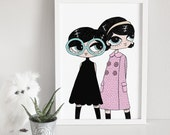 Fashion art print, mod look illustration, pink, glasses, sixties, retro //  Mods#2