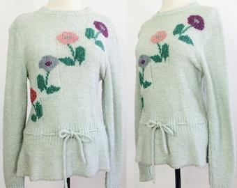 Womens Sweater Medium / Knit Sweater / Floral Sweater / Cinched Sweater / Tie Waist Sweater / Gray Sweater