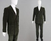 Vintage GIANNI VERSACE Couture Velvet Suit Olive Green Mens 2 Piece Dinner Suit Double Breasted Mens Tuxedo Suit Italian Designer Evening