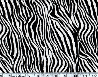 Animal  Print Cotton Fabric, Zebra Skin Print By the Yard  #256-12
