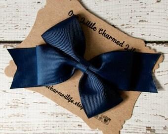 Navy Hair Bow, Navy Hairbow, Navy Hair Clip, Blue Hair Bow, Blue Hairbow, Blue Hair Clip, Dark Blue Hair Bow, Navy Blue Hair Bow