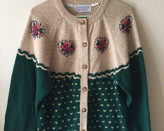 Vintage Hand-Embroidered Cardigan- Size Large
