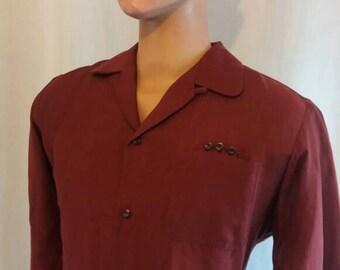 Maroon rayon shirt 50s cut Medium