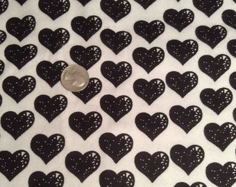 Black heart Flannel Fabric, black and white flannel fabric, heart fabric