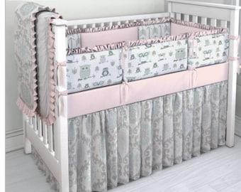 Pink, Aqua and Grey Owl crib bedding set