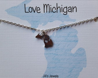Michigan Charm Necklace - Michigan Home Necklace - MI love- Love Michigan - Michigan Jewelry -  Michigan Pendant - Michigan Girl - Michigan