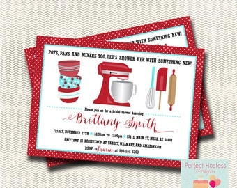 Kitchen Bridal Shower Invitation and Recipe Card