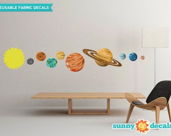 Solar System Fabric Wall Decals, Set Of 9 Planets And Sun   2 Sizes  Available Part 97