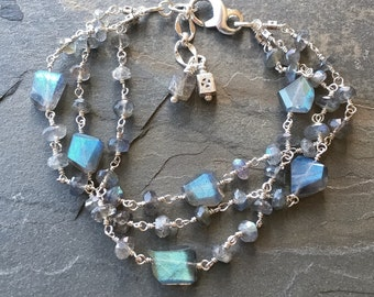Labradorite bracelet with sterling silver