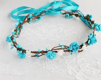 Turquoise Flower Crown, Rose Bridal Crown, Rustic Head Piece, Boho Crown, Woodland Headband, Beach Wedding Crown, Flower Girl Halo, Toddler