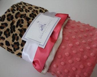 Animal Print, Leopard - Cheetah Print with Pink Lattice Minky & Coordinating Pink Satin Triim - Crib Bedding, Throw, Nursery, Baby Shower