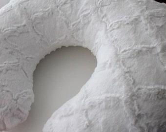 White Lattice and White Minky Dot Boppy Pillow Cover, Zipper Closure, Baby Boy or Girl, Baby Shower, Feeding, Nursing