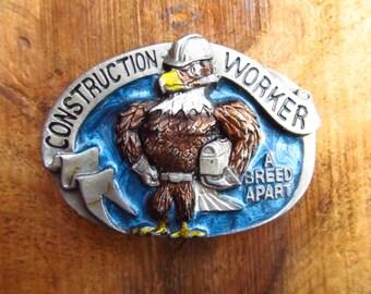 Vintage Constructin Worker Belt Buckle - The Great American Buckle Company - 1980's Construction Belt Buckle
