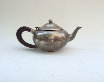 English Vintage Teapot with Hinged Lid, Wood Handle, Silverplate
