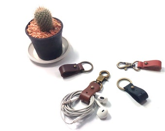 2x Leather Earbud holder. Earbud organizer, Cord Holder, Cord Organizer, Custom Earbud Holder, Headphone Wrap, Earbud Keychain, Cord Wrap