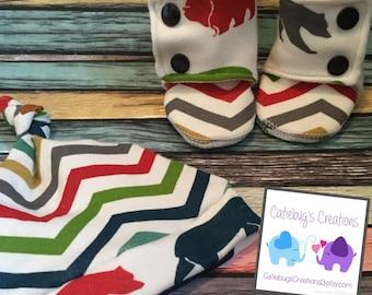 Newborn set/ matching booties and hat