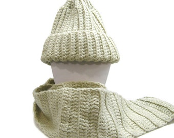 Vintage 1980s Hand Knit Scarf and Hat Chunky Hand Knit Scarf and Hat