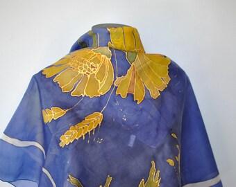 Vintage HANDMADE hand rolled , hand painted silk scarf....(047)