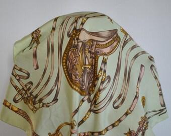Vintage PRINTED SILK SCARF , small silk scarf....(165)