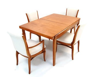 Early Mid Century Dining table and Chairs, stunning grain and Finish US150