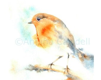 Robin - giclee print of watercolour painting, Bird Painting, Winter bird, Robin Watercolour Painting, Robin Watercolor, limited edition