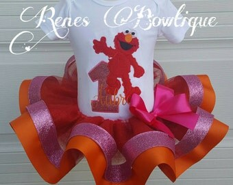 Pink Monster Ribbon Tutu Set