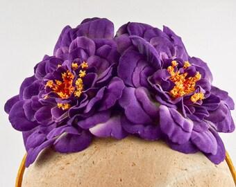 Purple flower headband, crown, headdress with vintage ribbon | Paulina