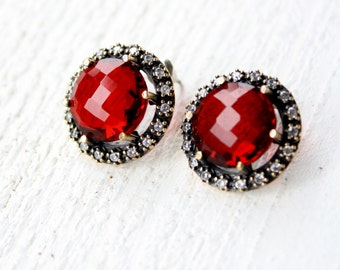 Vintage Ruby & White Sapphire Sterling Silver Earrings