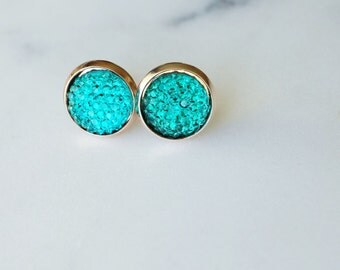Turquoise Gumdrop Minimalist Stud earrings