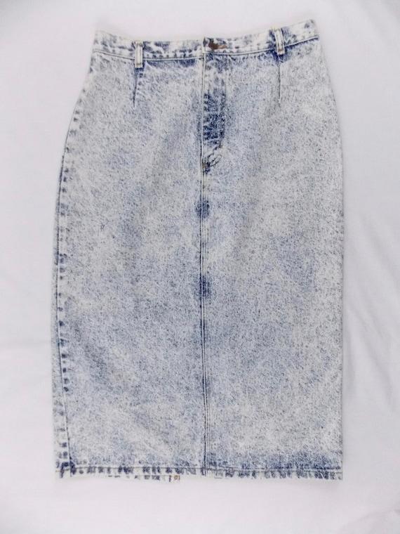 1980 s acid wash denim pencil skirt