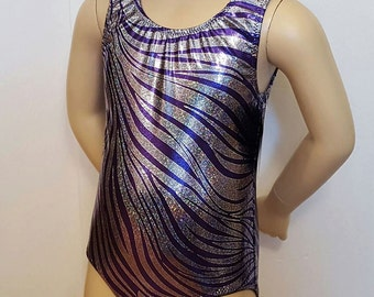 Gymnastics Leotard, Purple / Silver Zebra Sparkle , Girls Sizes 2 to 12 - Gymnastics and Dance Leotard