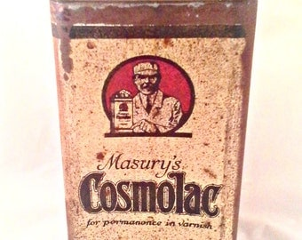 Vintage Antique Masury's Cosmolac Varnish Can - Collectible Rare