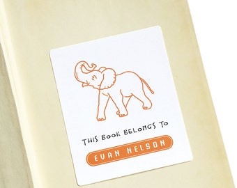 Kids Bookplates, Gift for Kids, Animal Drawings for Kids, Personalized Children's Book Labels, Kids Reading Gift, Elephant Art, Set of 12