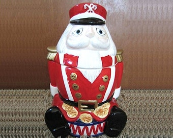 Vintage 1997 Gibson Ceramic Nutcracker Soldier Holiday Cookie Jar Toy Soldier Santa Large Christmas Cookie Jar Holiday Kitchen Serving Decor