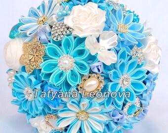 """Brooch bouquet, Fabric bouquet, Wedding Bouquet, Blue bouquet, Ivory bouquet, Turquoise bouquet 9"""""""