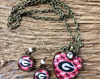 Georgia Bulldogs black and white bulldogs necklace and earrings set: UGA necklace and earrings